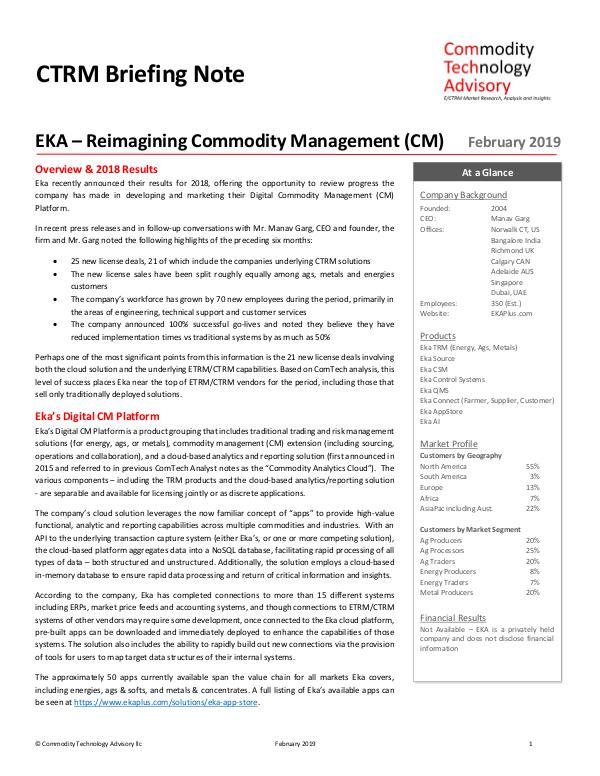 EKA – Reimagining Commodity Management (CM)