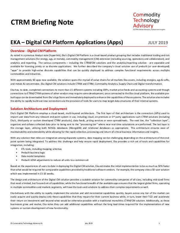 CTRM Briefing Note – EKA – Digital CM Platform App