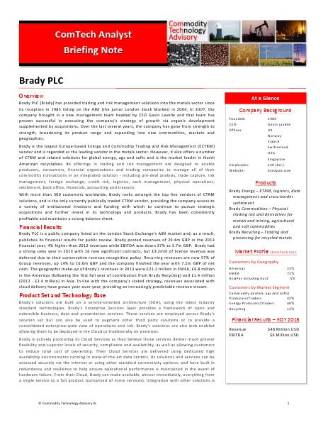 Reports Analyst Briefing Note Brady