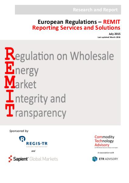 Reports EU Regulations REMIT Reporting Services & Solution