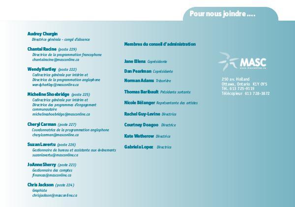 Spectacles et ateliers d'artistes de MASC 18 - 19 Spectacles et ateliers d'artistes de MASC