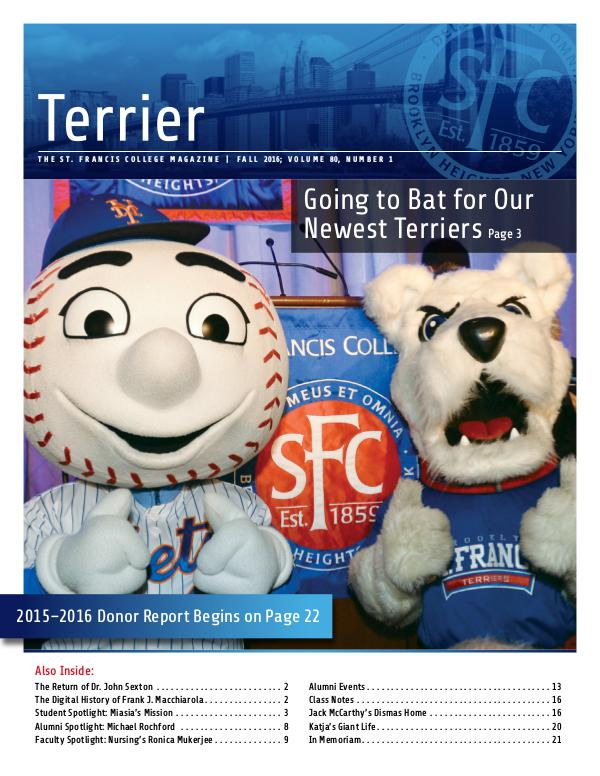 Terrier Volume 80, Number 1 - Fall 2016