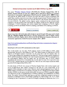 Global Wimax Market worth $20.4 Billion by 2017