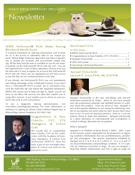 Wheat Ridge Animal Hospital Referral Newsletter March/April 2014