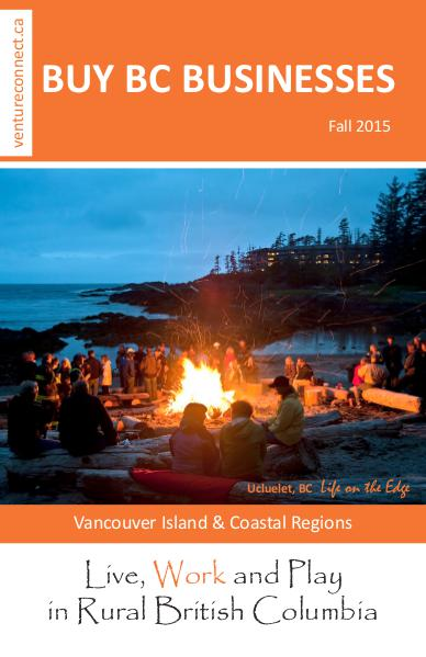 BUY BC BUSINESSES Business Buyer's Guide Vancouver Island Coastal Region Fall 2015