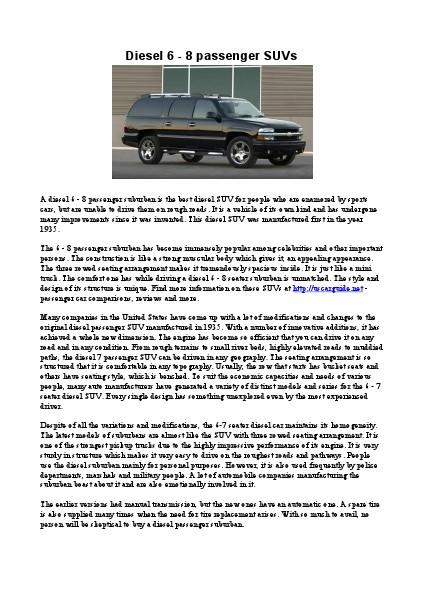 Diesel 6 - 8 passenger SUVs 1