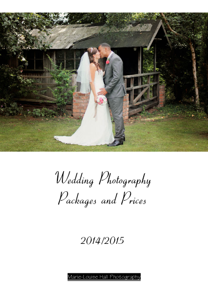 Wedding Packages and Prices 2014-15 for Marie-Louise Hall Photography February 2013