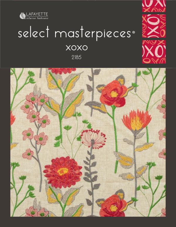 Select Masterpieces Fabric Collections by Lafayette Interior Fashions Book 2185, xoxo