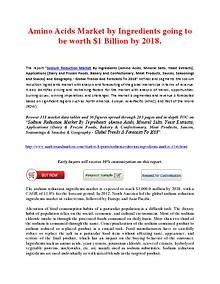 Amino Acids Market by Ingredients going to be worth $1 Billion by 2018.