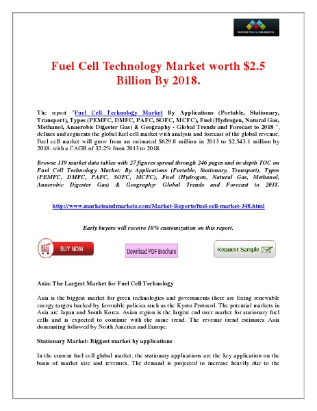 Fuel Cell Technology Market would be worth $2.5 Billion By 2018. April 2014