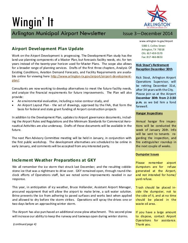 Wingin' It - Arlington Municipal Airport Newsletter Wingin' It - Issue 3 - December 2014