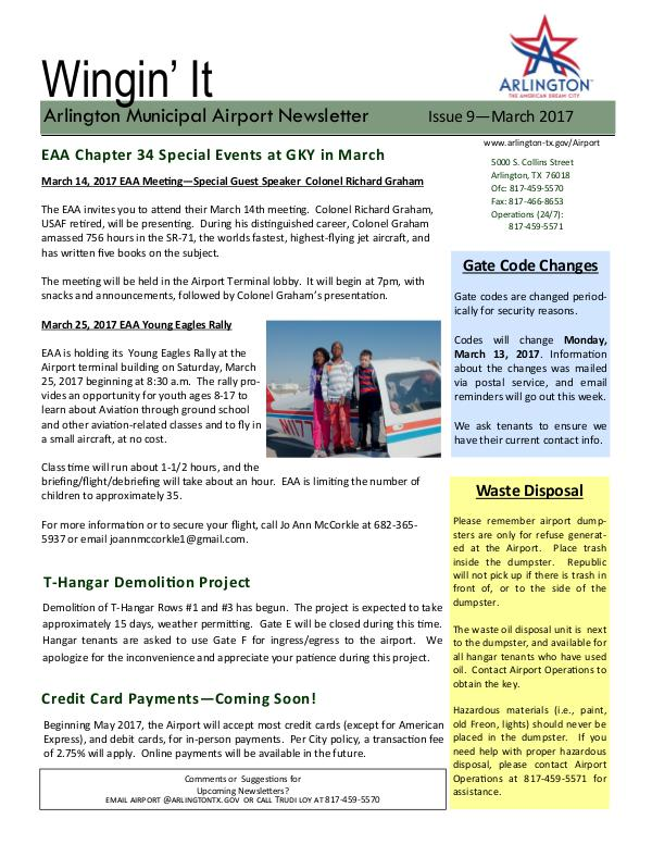 Wingin' It - Issue 9 - March 2017