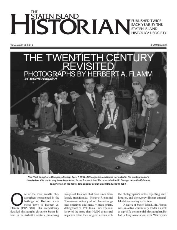 Staten Island Historian Issue 1 Vol XXVI Summer 2016