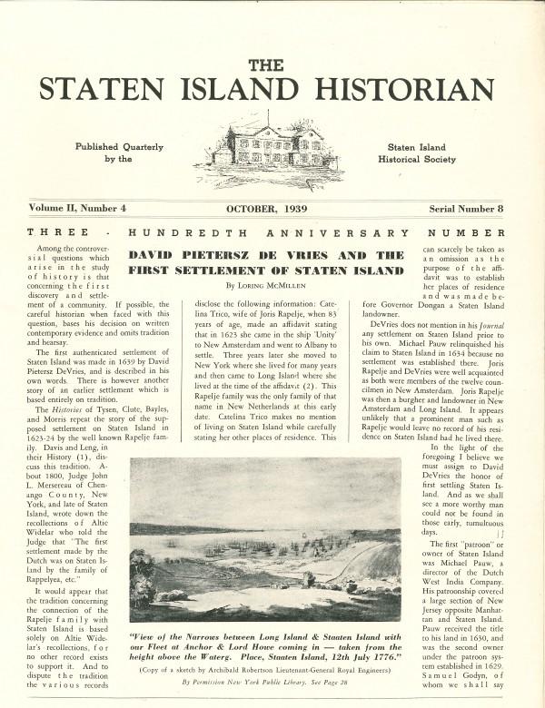 Staten Island Historian - Oct 1939