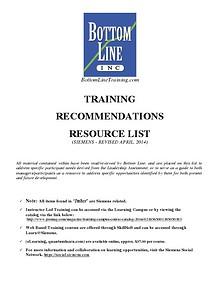 Siemens Training Recommendations Resource List