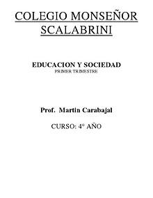PRIMER TRIMESTRE EDUCACIÓN Y SOCIEDAD 03 DE 2014