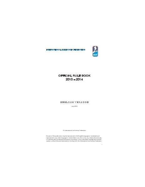 IIHF Rule Book 2010