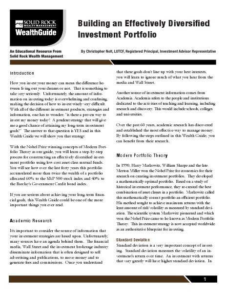 Building An Effectively Diversified Investment Por