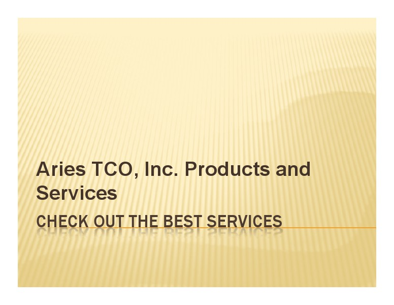 Aries Tco Solutions - The Final Solution Solution