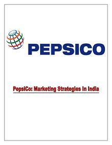 Marketing Tactics Of PepsiCo in India