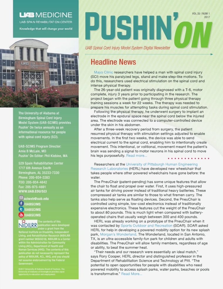 Pushin' On: UAB Spinal Cord Injury Model System Digital Newsletter Volume 35 | Number 1