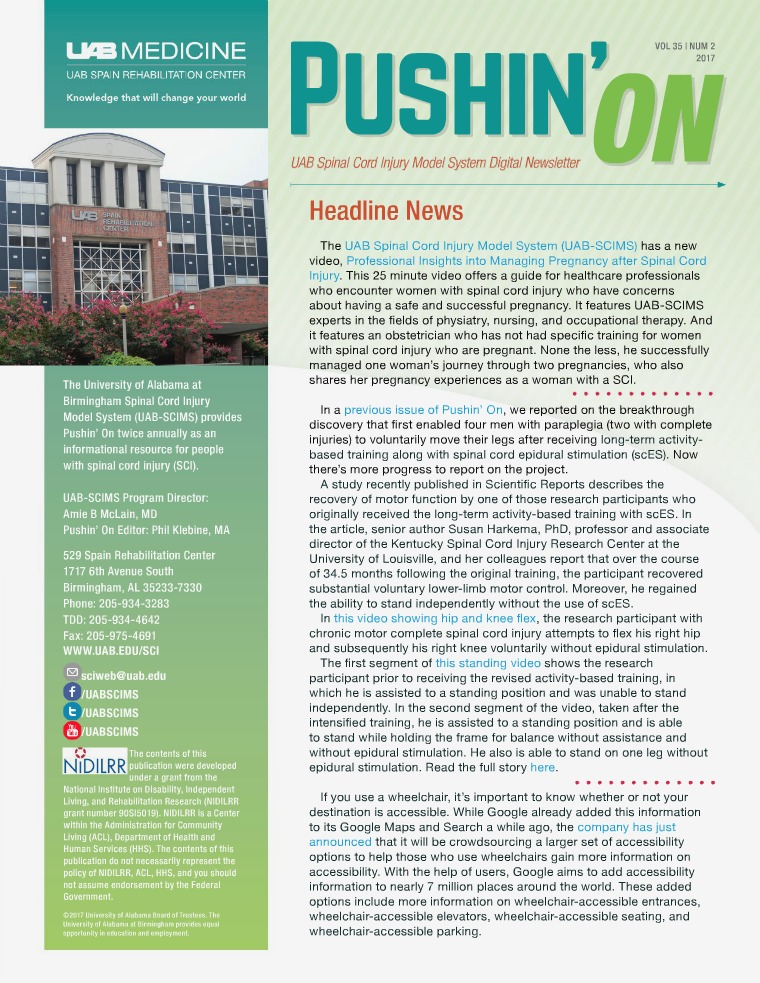 Pushin' On: UAB Spinal Cord Injury Model System Digital Newsletter Volume 35 | Number 2