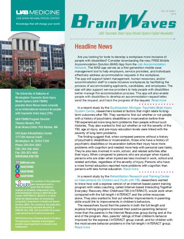 Brain Waves: UAB Traumatic Brain Injury Model System Newsletter Volume 16 | Number 1