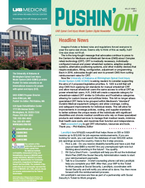 Pushin' On: UAB Spinal Cord Injury Model System Digital Newsletter Volume 37 | Number 1