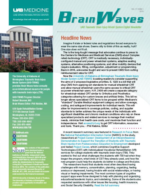 Brain Waves: UAB Traumatic Brain Injury Model System Newsletter Volume 17 | Number 1