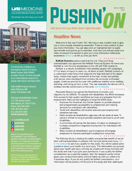 Pushin' On: UAB Spinal Cord Injury Model System Digital Newsletter Volume 32   Number 2