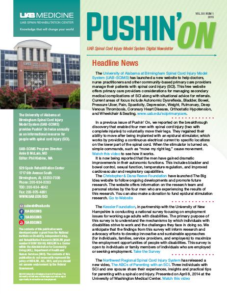 Pushin' On: UAB Spinal Cord Injury Model System Digital Newsletter Volume 33 | Number 1