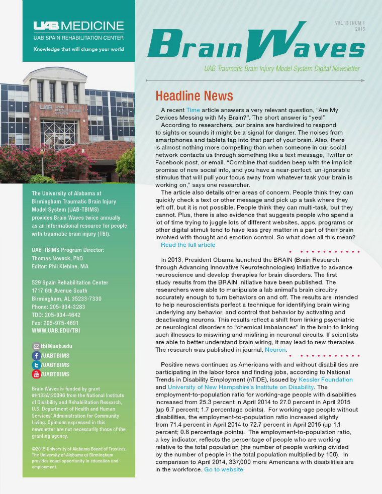 Brain Waves: UAB Traumatic Brain Injury Model System Newsletter Volume 13 | Number 1