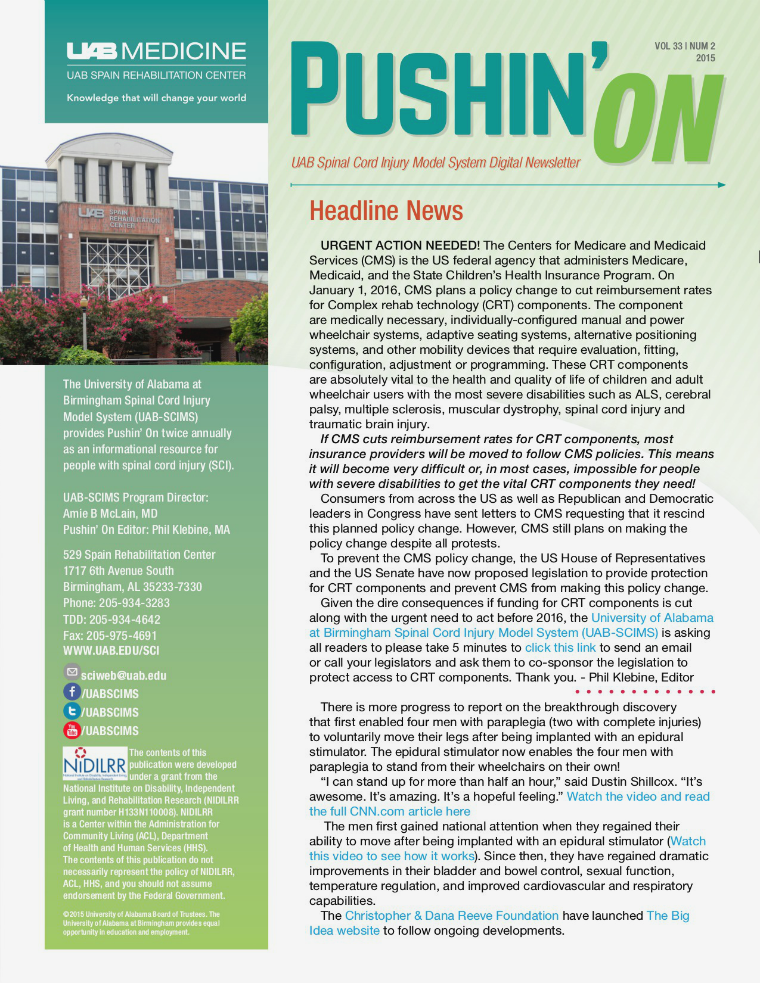 Pushin' On: UAB Spinal Cord Injury Model System Digital Newsletter Volume 33   Number 2