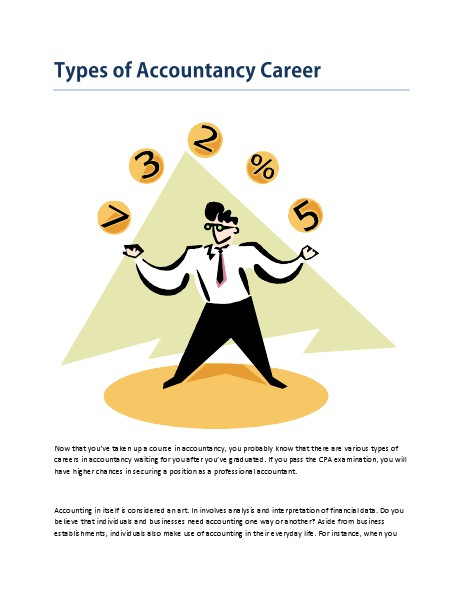 Payroll and Accounting Types of Accountancy Careers - Mar. 2014
