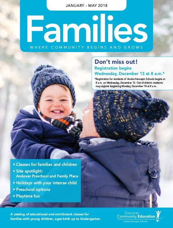 Community Education - current class catalogs Families - Winter 2018