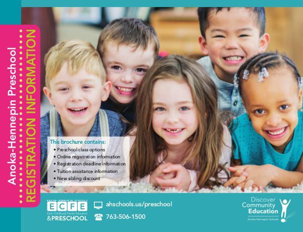 Community Education program brochures Preschool registration information, 2018-19