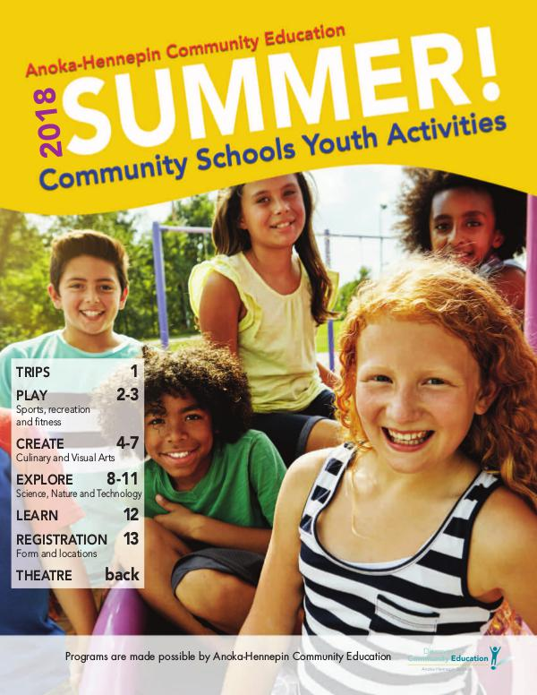 Community Education - current class catalogs Youth activities and classes - summer 2018