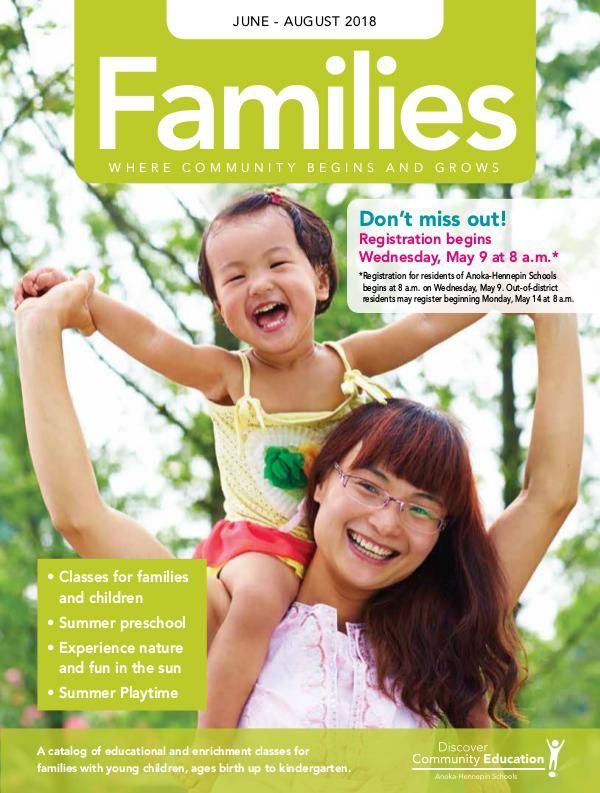 Community Education - current class catalogs Families - Spring/Summer 2018