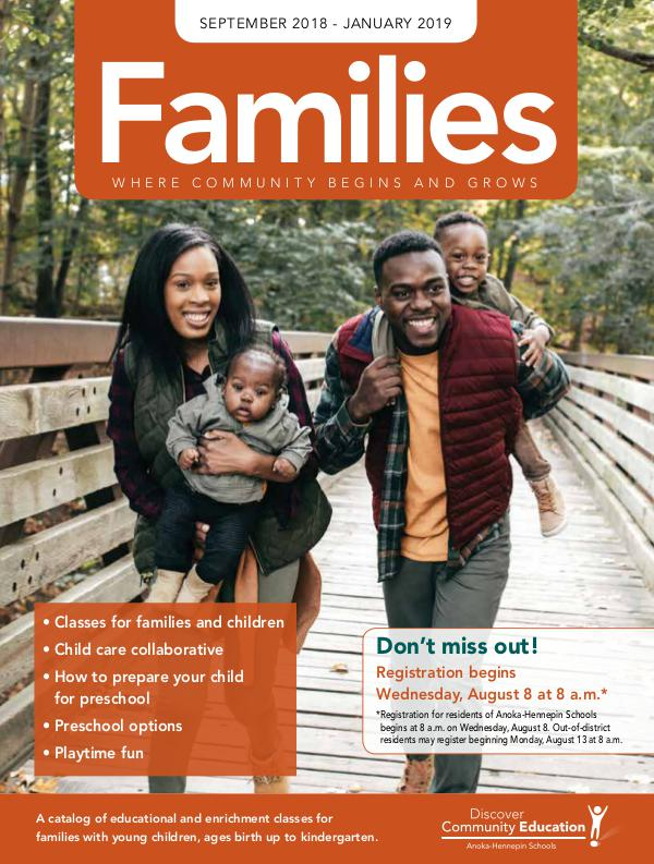 Community Education - current class catalogs Families - Fall 2018