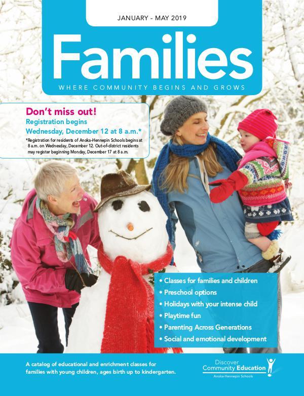 Community Education - current class catalogs Families - Winter 2018-19