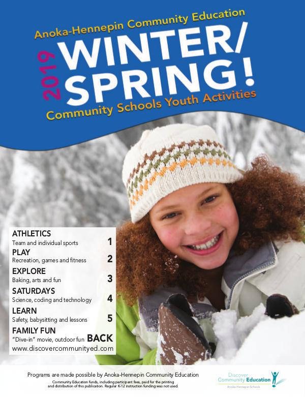 Community Education - current class catalogs Youth activities and classes - Winter 2019