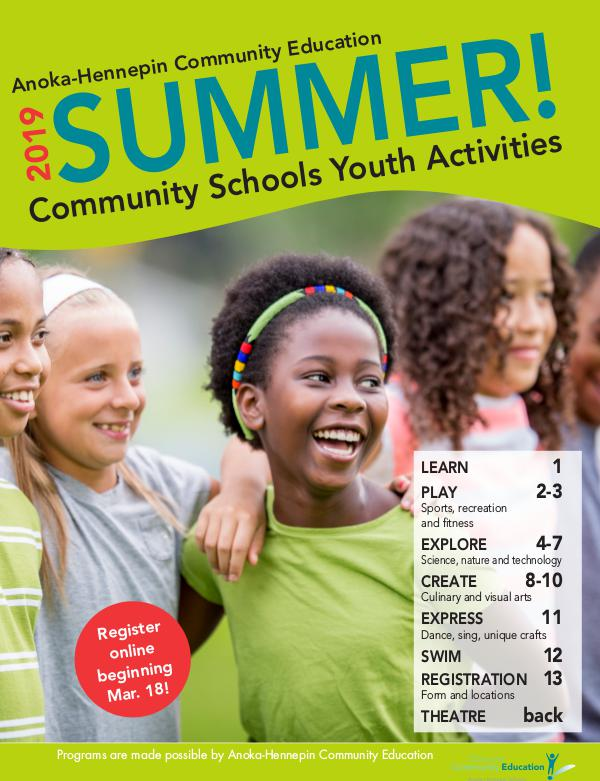 Community Education - current class catalogs Youth activities and classes - summer 2019