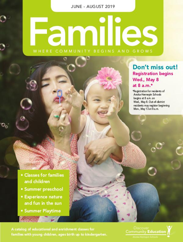 Community Education - current class catalogs Families - Spring/Summer 2019