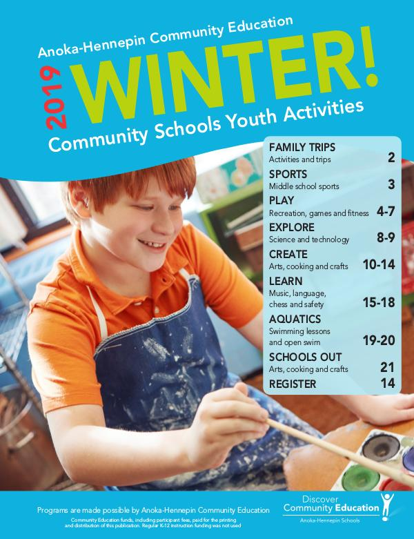 Youth activities and classes - Winter/Spring 2020