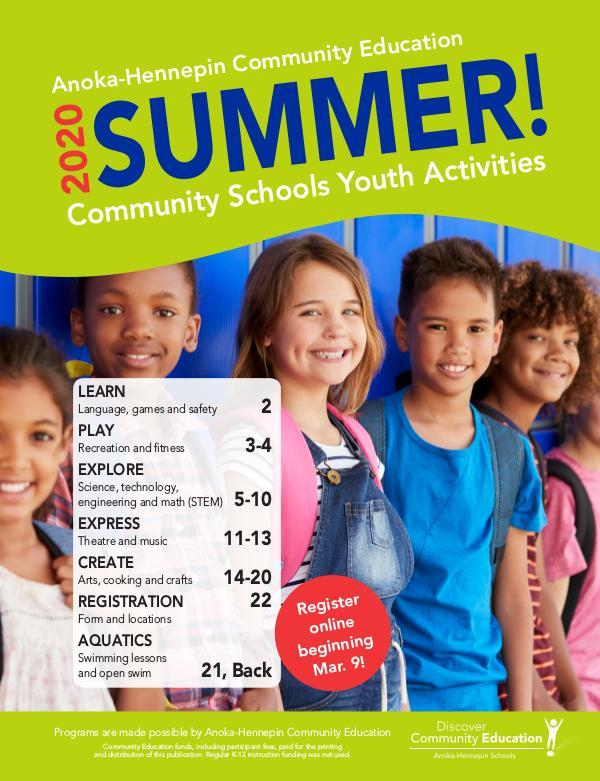 Youth activities and classes - Summer 2020