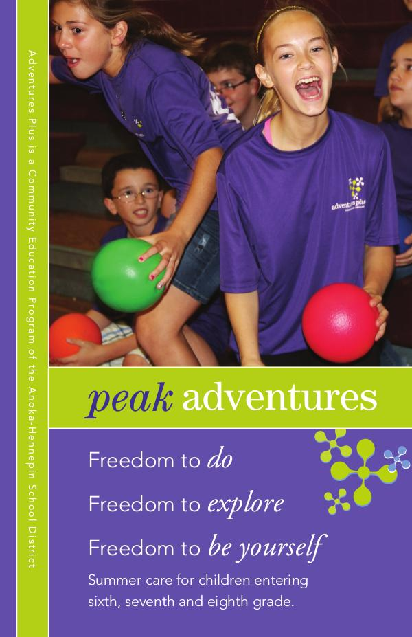 Community Education program brochures Peak Adventures - Summer 2020