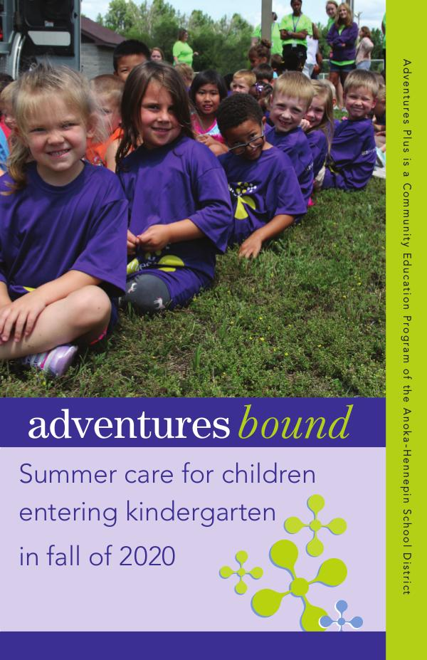 Community Education program brochures Adventures Bound - Summer 2020