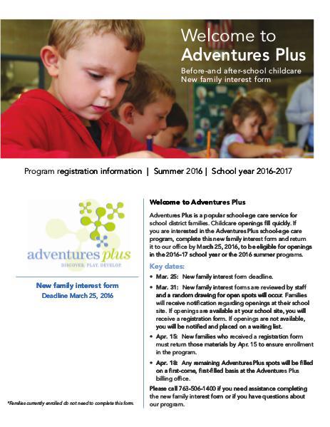 Adventures Plus new family interest form