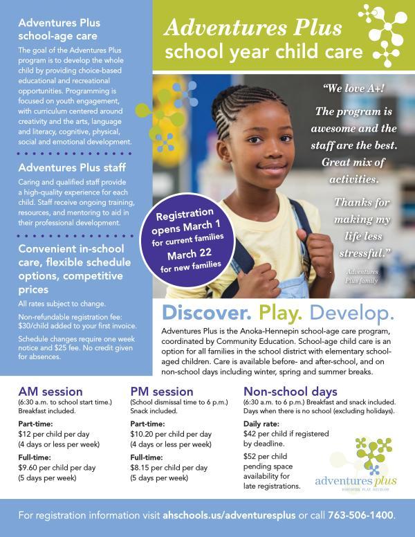 Adventures Plus school-age care information