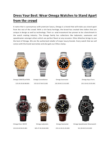 Dress Your Best Wear Omega Watches to Stand Apart from the crowd.pdf Apr. 2014